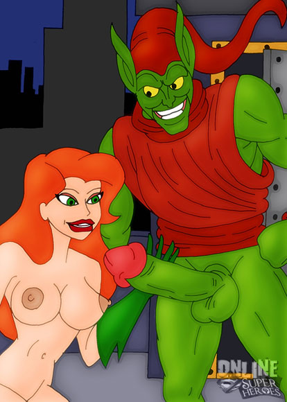 Green Goblin cums Poison Ivy's face