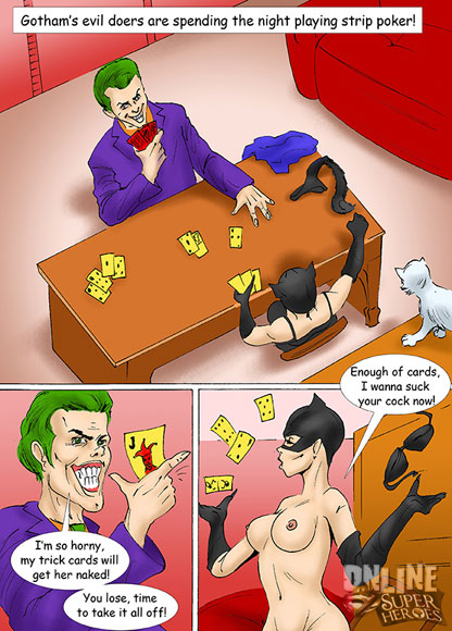 Joker and Catwoman play strip poker