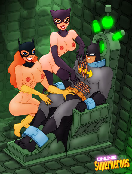 Batgirl and Catwoman sucks rod